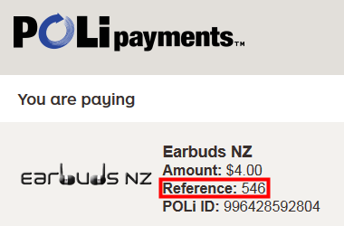 Order reference when paying with POLi payments
